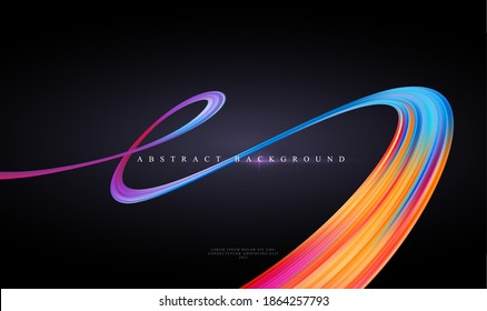 Modern trending abstract black background with curving bright full color ribbon of liquid paint. Template for design presentation, flyer, card, web page. Vector illustration EPS10