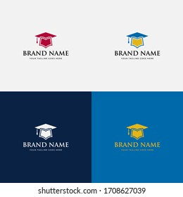 Modern trendy Academic logo design, Education, academy, school, college, university, learn, study, hat, book, symbol, graduate cap logo design vector elements.