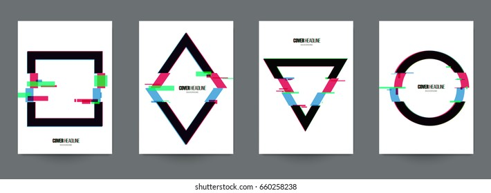 Modern trendy background cover posters, banners, flyers, placards. Set of abstract minimal template design for branding, advertising in geometric glitch style. Vector illustration. EPS 10.