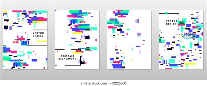 Modern trendy background cover posters, banners, flyers, placards. Set of abstract minimal template design for branding, advertising in geometric glitch style.