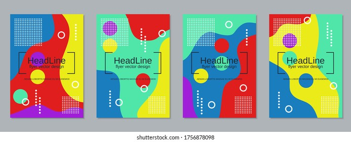 Modern trendy business flyer, booklet, brochure cover vector design templates collection. A4 format - Shutterstock ID 1756878098