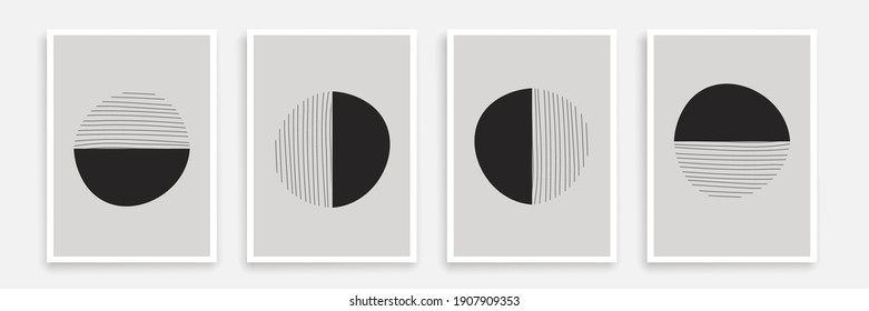 Modern Trendy Cards Set with Line Art Elements. Abstract Banners Collection. Trendy Minimalist Poster Line Art Design. Minimal Abstract Background. Vector EPS 10.