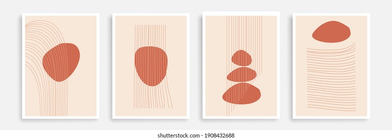 Modern Trendy Cards Set with Line Art Texture. Abstract Banners Collection Line Art Style. Trendy Minimalist Poster Design. Minimal Abstract Background. Vector EPS 10. - Shutterstock ID 1908432688