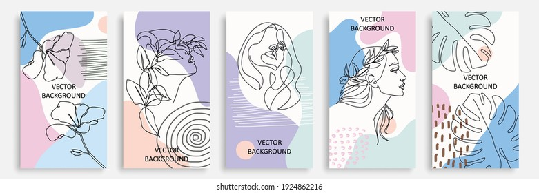 Modern Trendy Cards Set with Line Art Elements, Women Faces, Flowers, Leaves. Abstract Banners Collection. Trendy Minimalist Poster Line Art Design. Minimal Abstract Background. Vector EPS 10.
