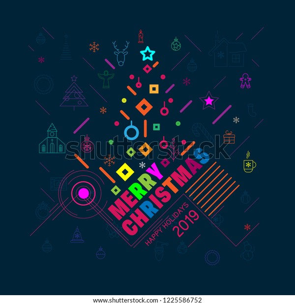 Colorful Christmas Background Design.Modern Trendy Colorful Christmas Background Bright Stock