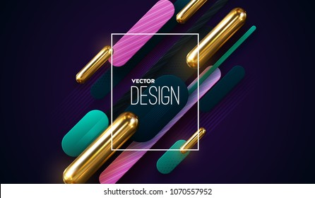 Modern trendy cover design. Vector 3d illustration of golden capsules and diagonal linear paper shapes. Abstract background. Dynamic backdrop. Business banner template. Minimal futuristic design