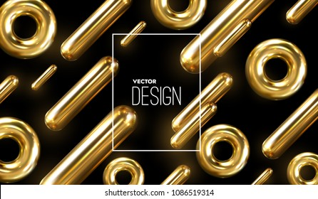 Modern trendy cover design. Vector 3d illustration of liquid golden metallic capsules. Abstract background with colorful gold shapes. Dynamic backdrop. Minimal futuristic design