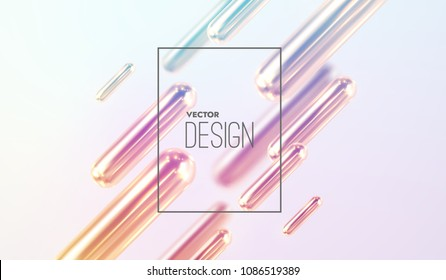 Modern trendy cover design. Vector 3d illustration of liquid iridescent metallic capsules. Abstract background with colorful mercury shapes. Dynamic backdrop. Minimal futuristic design
