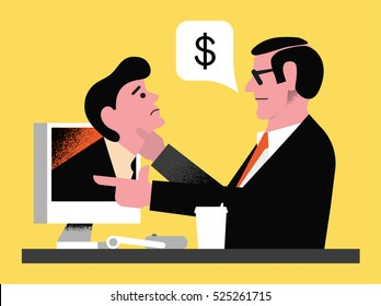 Modern trendy flat illustration. Bank employee takes the debt of the debtor.