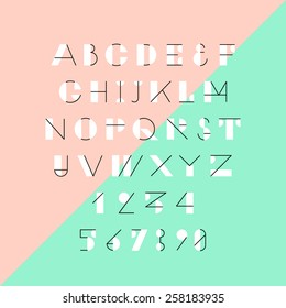 Modern trendy geometric font. High quality vector design element.