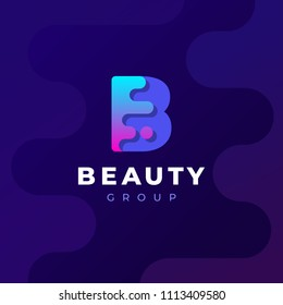 Modern trendy gradient geometric letter B logo design template. Business technology and digital abstract connection vector logo.