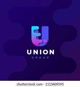 Modern trendy gradient geometric letter U logo design template. Business technology and digital abstract connection vector logo.