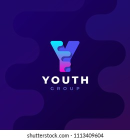 Modern trendy gradient geometric letter Y logo design template. Business technology and digital abstract connection vector logo.
