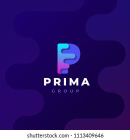 Modern trendy gradient geometric letter P logo design template. Business technology and digital abstract connection vector logo.