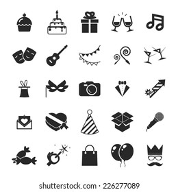 Modern trendy Isolated icons set Gift, Party, Birthday vector illustration