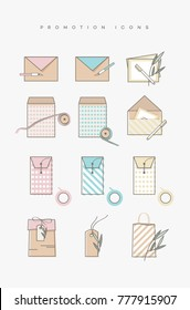 Modern trendy line art icons with promotional gift tags, envelopes and shopping bags