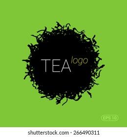 Modern trendy logo for tea shop, teahouse or tea company. Silhouette of tea leaves. Stock vector.