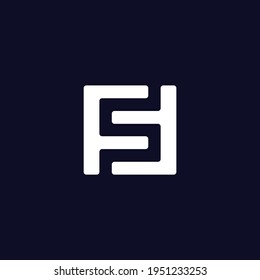 Modern Trendy Minimal Monogram FS and SF F or S Square Shaped Business Brands Initial Based letter Icon Logo