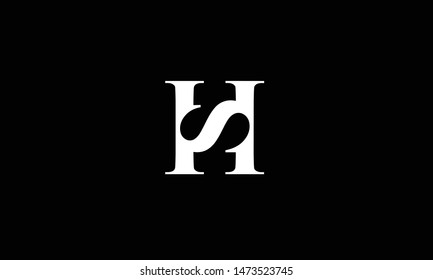 Modern trendy minimal monogram HS SH H S square shaped business brands black and white color initial based letter icon logo.