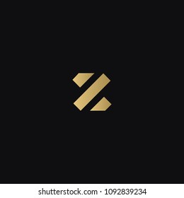 Modern trendy minimal squared shaped Z business brands black and golden color initial based letter icon logo.