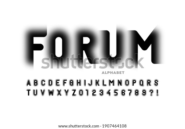 Modern trendy style font design, alphabet letters and numbers vector illustration