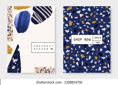 Modern and trendy templates with organic shapes, hand drawn elements and terrazzo texture. Contemporary abstract collage brochure, flyer, newsletter, poster, magazine cover, packaging, branding design