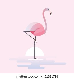 Modern trendy vector illustration of a stylized pink flamingo bird standing in a lake waters on a sunrise.