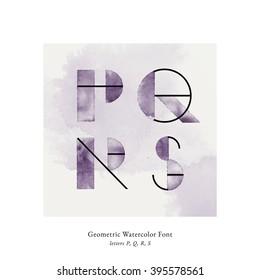 Modern trendy watercolor geometric font. High quality vector design element. Letters P, Q, R, S