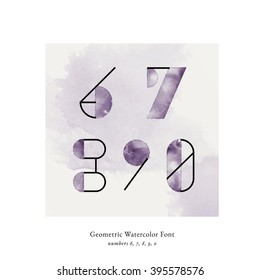 Modern trendy watercolor geometric font. High quality vector design element. Numbers 6, 7, 8, 9, 0