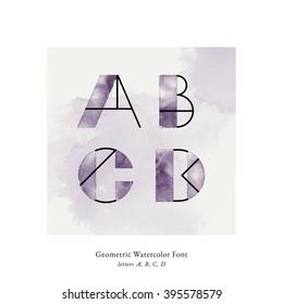 Modern trendy watercolor geometric font. High quality vector design element. Letters A, B, C, D