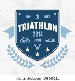 Modern triathlon badge emblem logo with bike and medal graphics