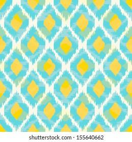 Modern tribal ikat blue yellow fashion seamless pattern