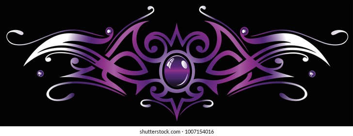 Modern tribal tattoo ornament with gemstone and color effects.