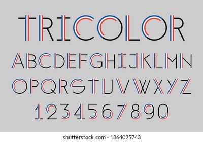 Modern tricolor thin line font. Colors of the flag of France. Alphabet elegant design. Vector illustration.