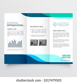 modern tri-fold brochure design with blue shapes