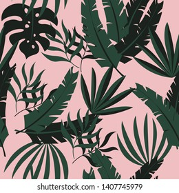 Modern tropical vector green leaves seamless pattern on pink background. Exotic wallpaper.