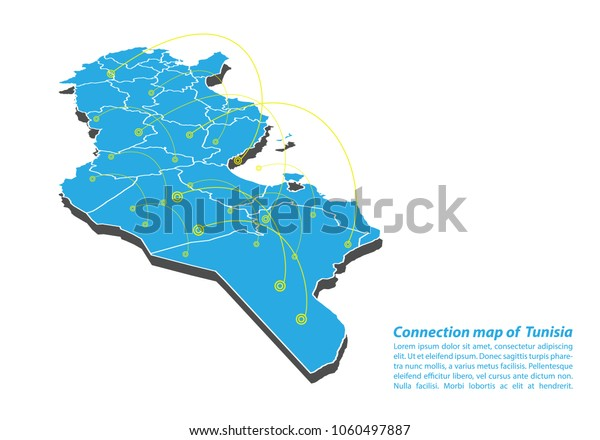Modern Tunisia Map Connections Network Design Stock ...