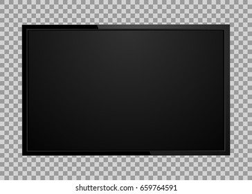 Modern TV screen, led type, lcd blank isolated. Black monitor display mockup on a transparent background