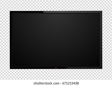 Modern TV screen, led type, lcd blank isolated. Black monitor display mockup on a transparent background. Vector, eps10