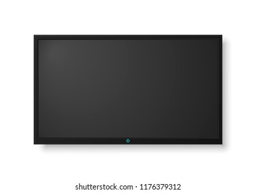 Modern TV screen.Display wide tv, digital realistic black screen illustration. 4k tv screen vector. LCD or LED tv screen.