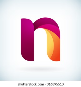 Modern twisted letter n icon design element template