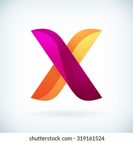 Modern twisted letter x icon design element template