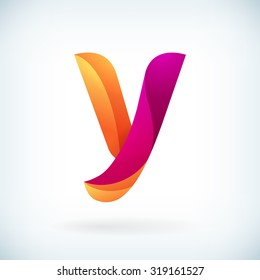 Modern twisted letter y icon design element template