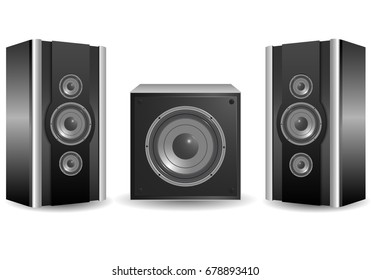 Modern two speakers and a subwoofer on a white background, vector