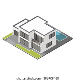 Modern Two Story House With Flat Roof Sometric Icon Set Vector Graphic  Illustration