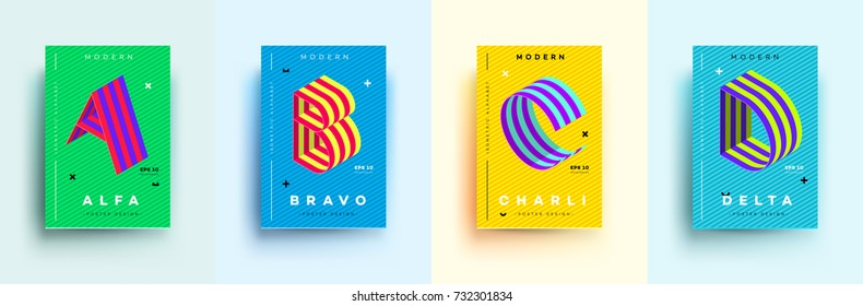 Modern Typographic Colorful Covers. Isometric Letters A, B, C, D With Abstract Memphis Design Background. Vector Trendy Template For Your Posters, Banners, Presentations, Layouts.