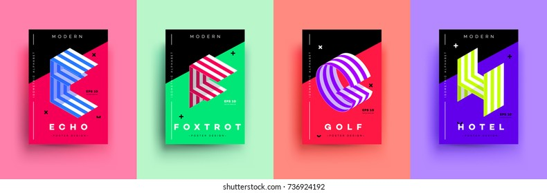 Modern Typographic Colorful Covers. Isometric Letters E, F, G, H With Abstract Memphis Design Background. Vector Trendy Template For Your Posters, Banners, Presentations, Layouts.
