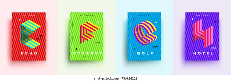Modern Typographic Colorful Covers Isometric Nw on Foxtrot Ballroom Dancing Posters
