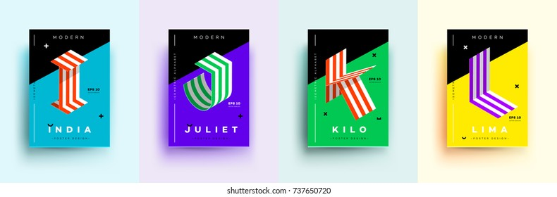 Modern Typographic Colorful Covers. Isometric Letters I, J, K, L With Abstract Memphis Design Background. Vector Trendy Template For Your Posters, Banners, Presentations, Layouts.
