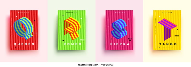 Modern Typographic Colorful Covers. Isometric Letters Q, R, S,T With Abstract Memphis Design Background. Vector Trendy Template For Your Posters, Banners, Presentations, Layouts.